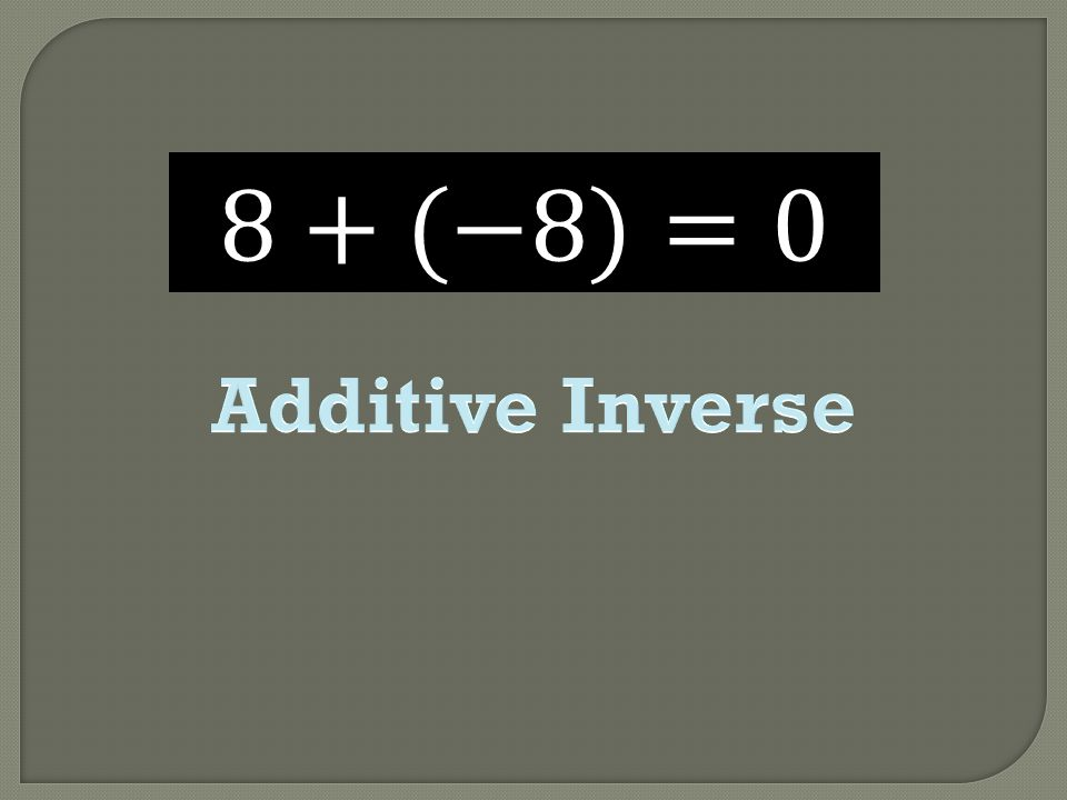 8+(−8)=0 Additive Inverse