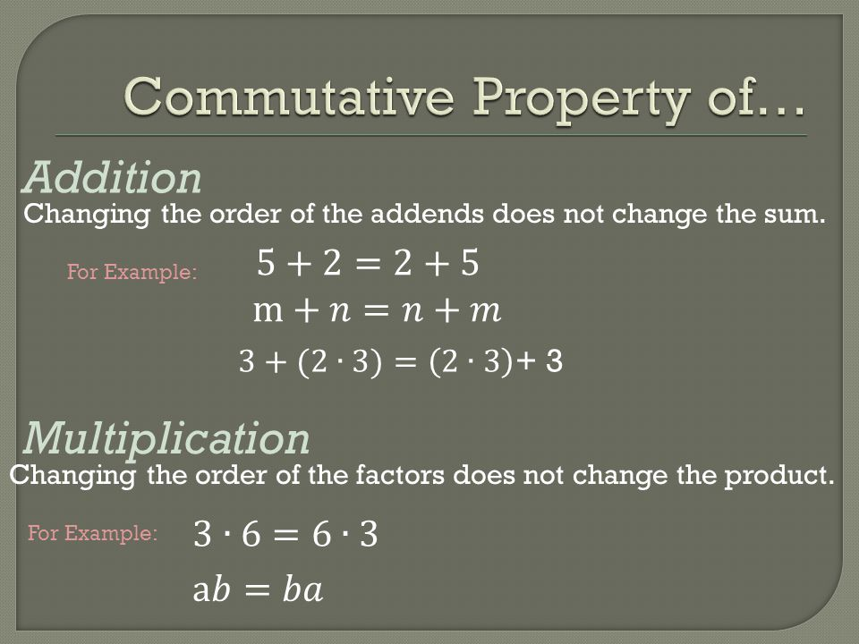 Commutative Property of…