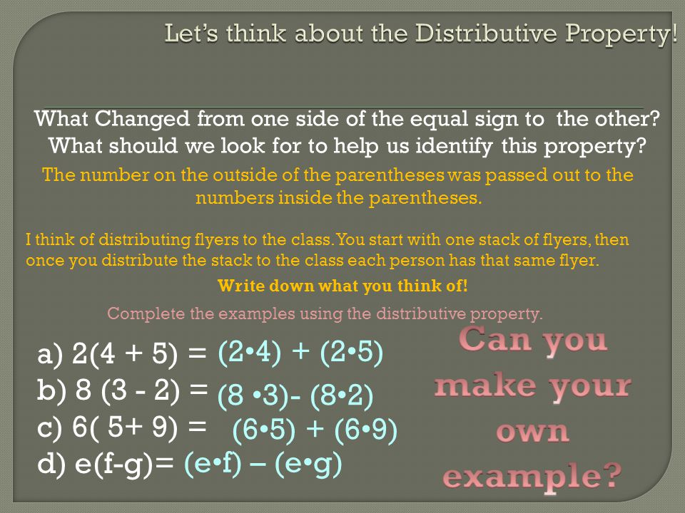 Let's think about the Distributive Property!