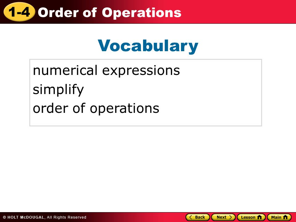 Vocabulary numerical expressions simplify order of operations