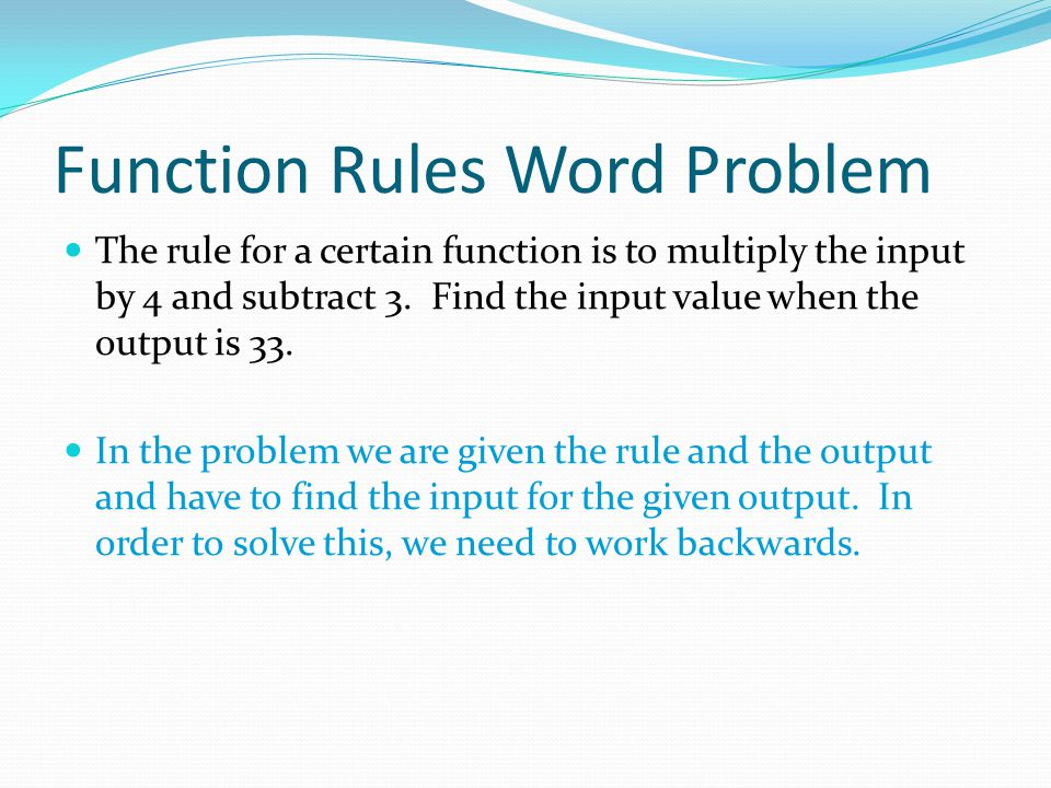 Function Rules Word Problem
