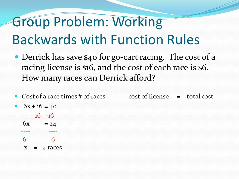 Group Problem: Working Backwards with Function Rules