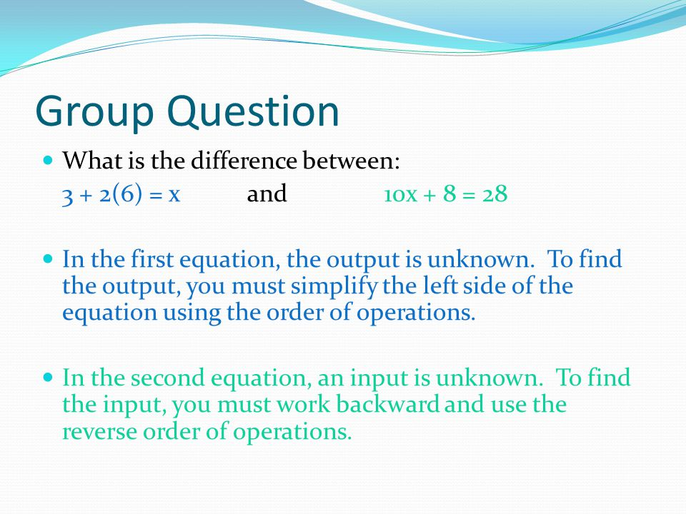 Group Question What is the difference between: