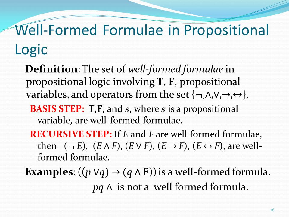 Well-Formed Formulae in Propositional Logic