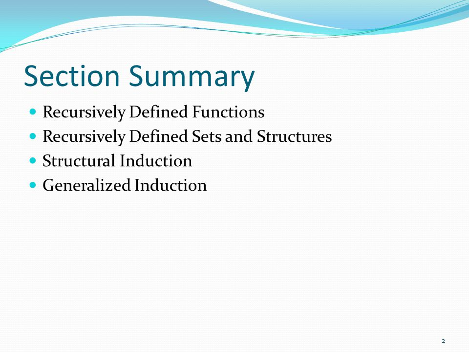 Section Summary Recursively Defined Functions