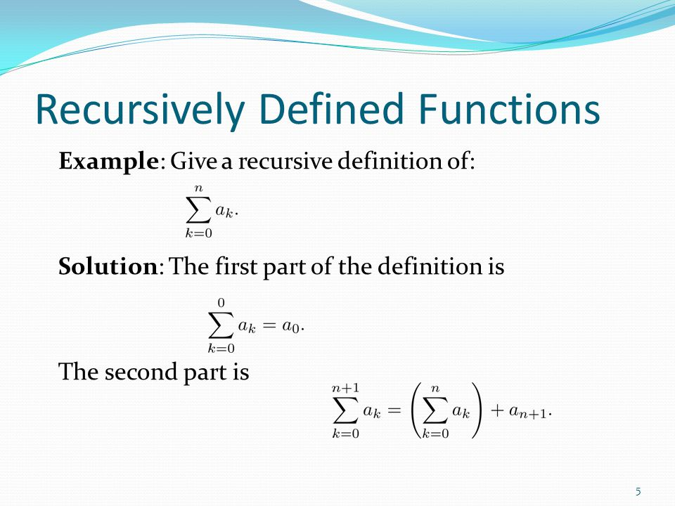 Recursively Defined Functions