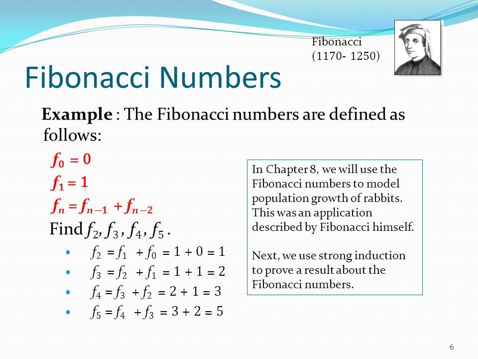 Fibonacci (1170- 1250) Fibonacci Numbers. Example : The Fibonacci numbers are defined as follows: