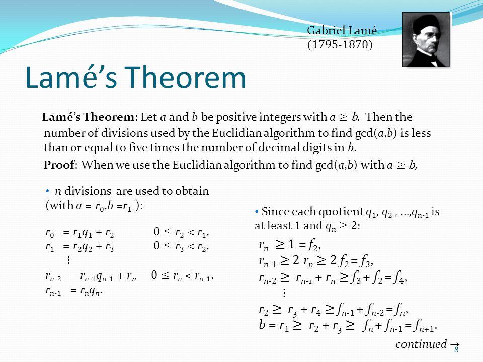 Gabriel Lamé (1795-1870) Lamé's Theorem.