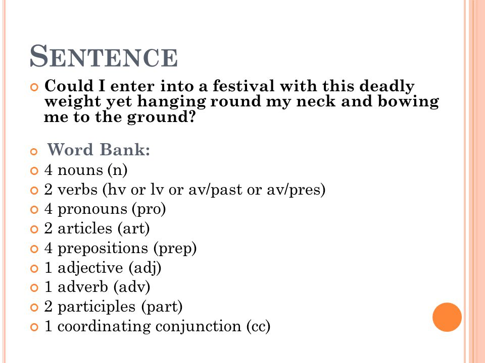 Sentence Could I enter into a festival with this deadly weight yet hanging round my neck and bowing me to the ground