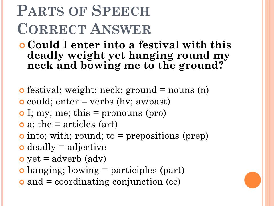 Parts of Speech Correct Answer