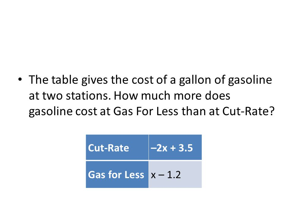 The table gives the cost of a gallon of gasoline at two stations