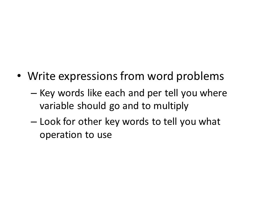 Write expressions from word problems
