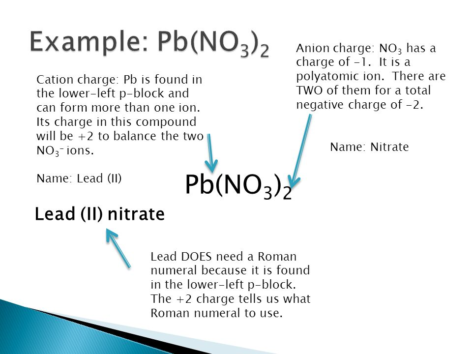 Example: Pb(NO3)2 Pb(NO3)2 Lead (II) nitrate