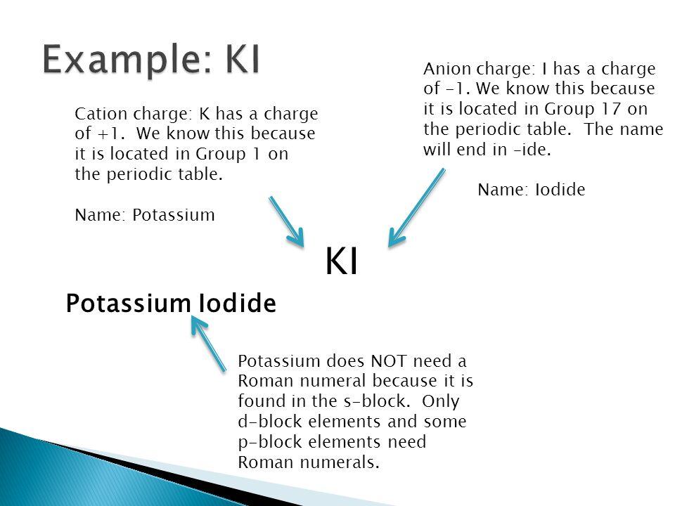 Example: KI KI Potassium Iodide