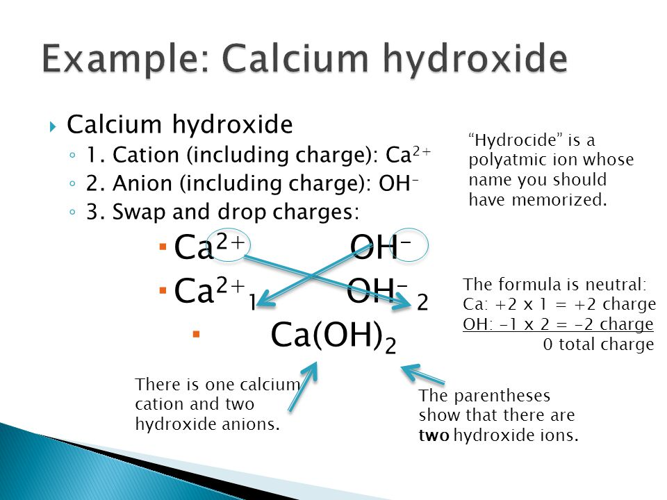 Example: Calcium hydroxide