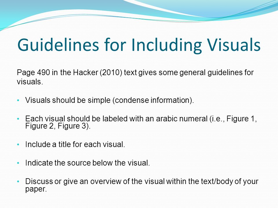 Guidelines for Including Visuals
