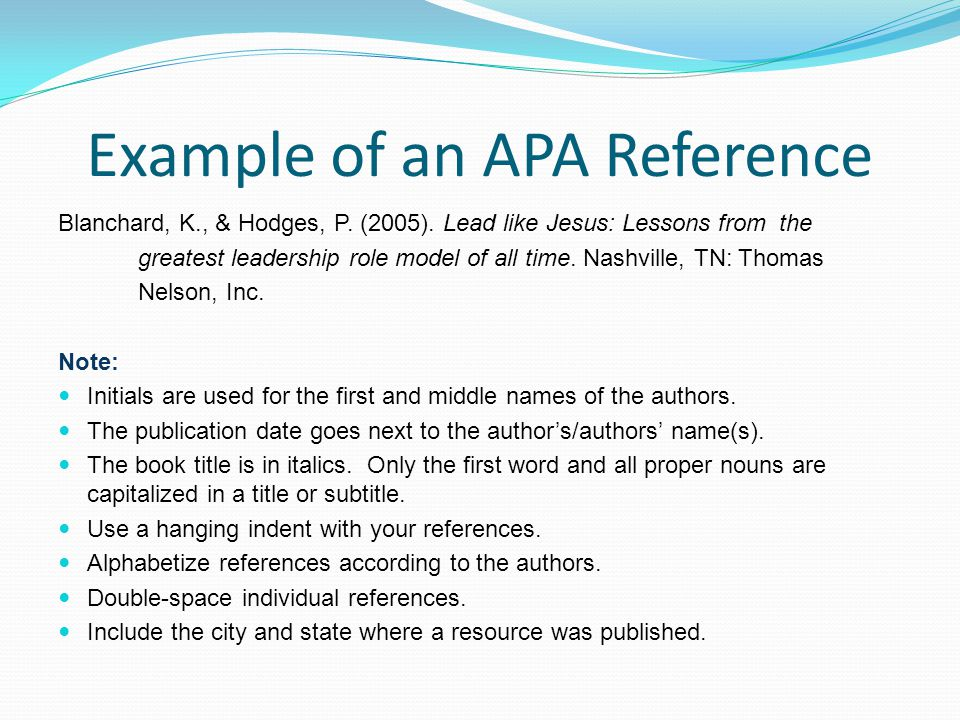 Example of an APA Reference