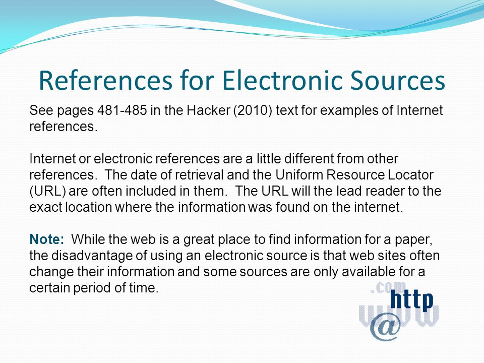References for Electronic Sources