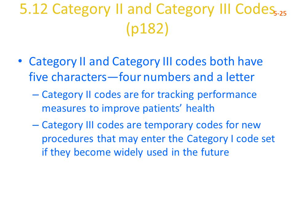 5.12 Category II and Category III Codes (p182)