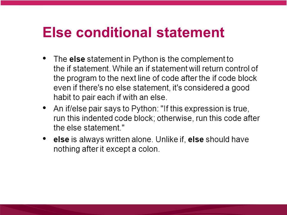 Else conditional statement