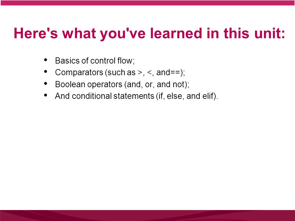 Here s what you ve learned in this unit: