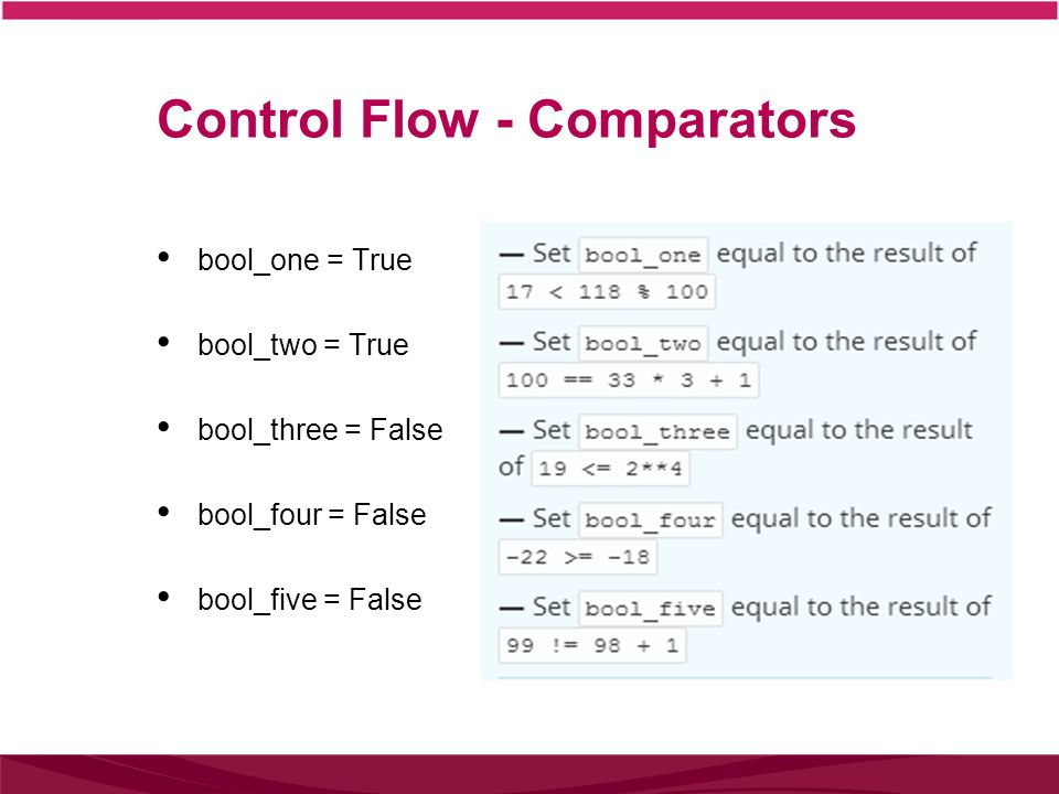 Control Flow - Comparators