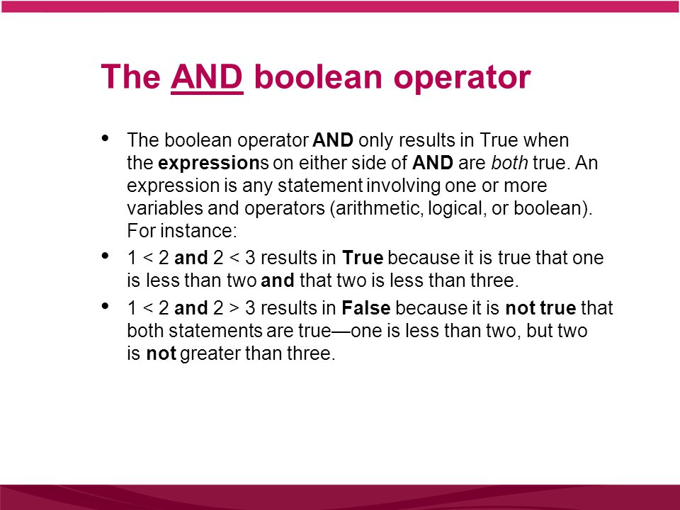 The AND boolean operator