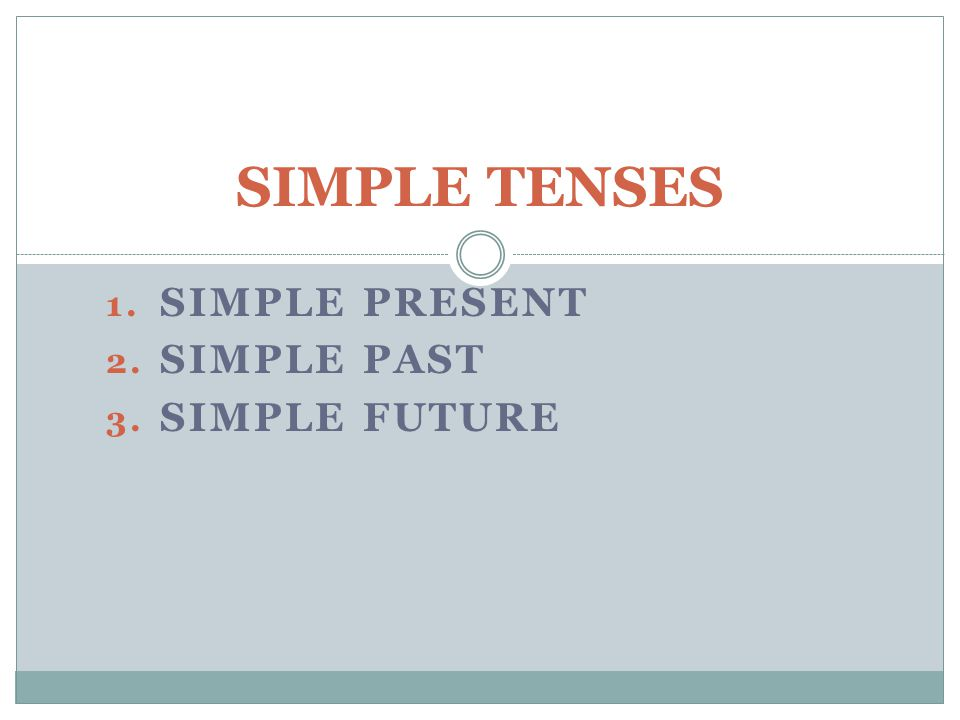 SIMPLE PRESENT SIMPLE PAST SIMPLE FUTURE