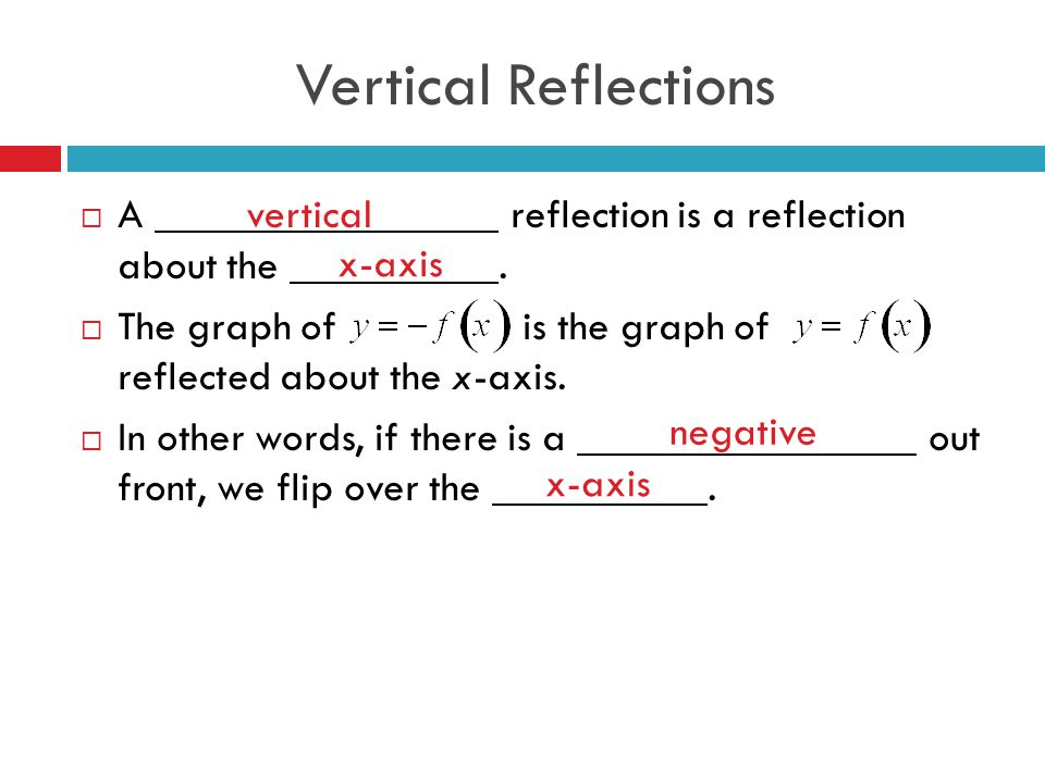 Vertical Reflections A reflection is a reflection about the .