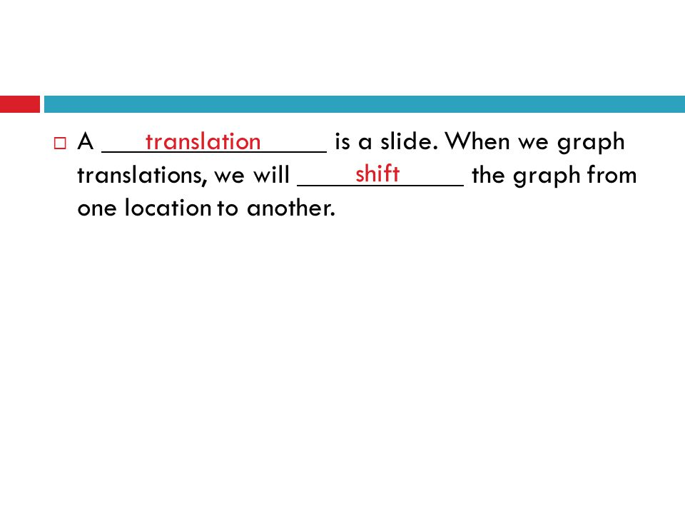A. is a slide. When we graph translations, we will
