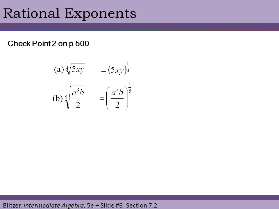 Rational Exponents Check Point 2 on p 500
