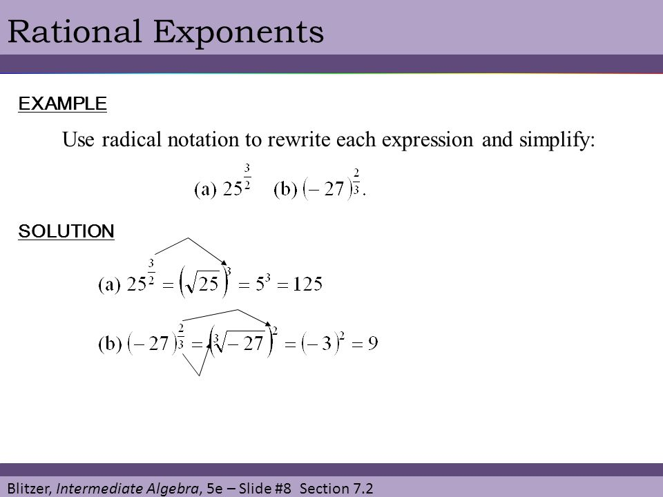 how to solve positive rational exponents
