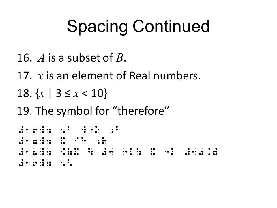 Spacing Continued A is a subset of B. x is an element of Real numbers.