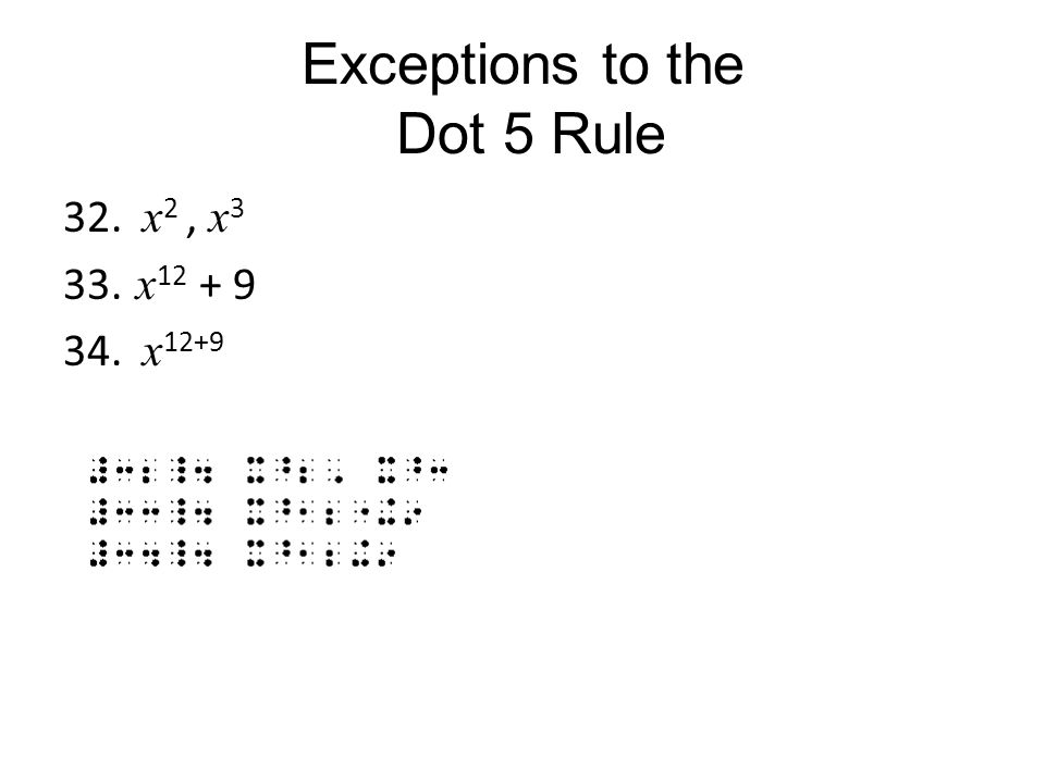 Exceptions to the Dot 5 Rule