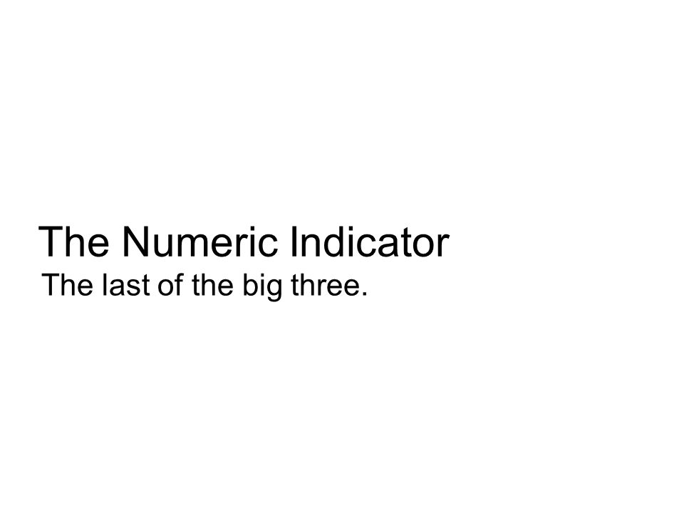The Numeric Indicator The last of the big three.