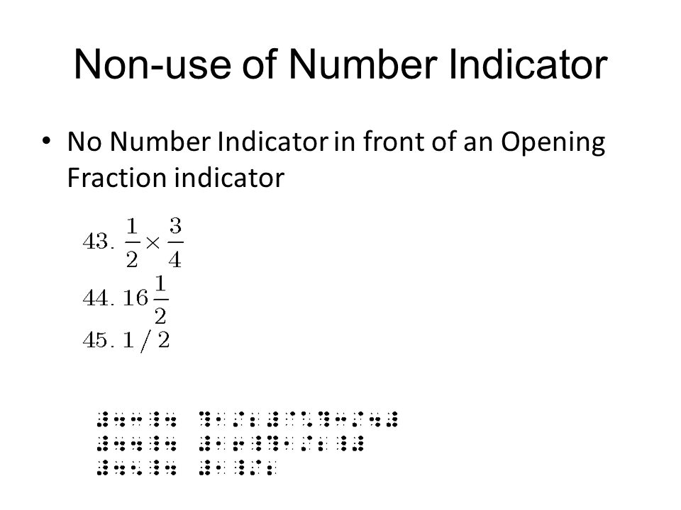 Non-use of Number Indicator