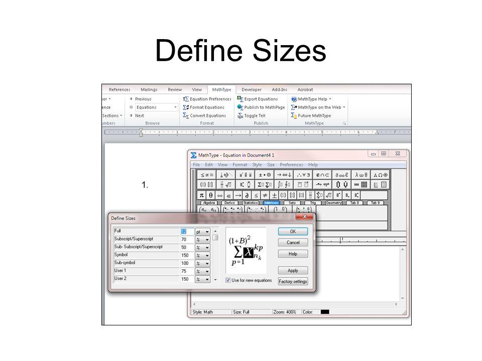 Define Sizes