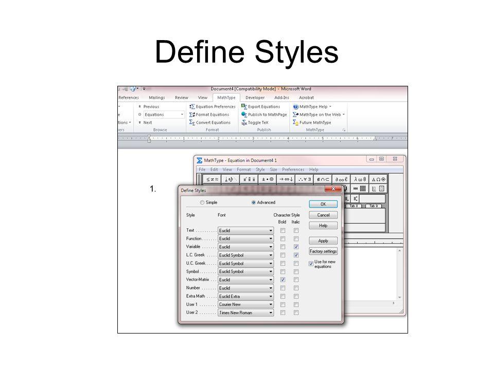 Define Styles