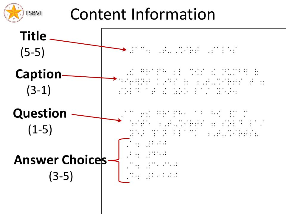 Content Information Title Caption Question Answer Choices (5-5) (3-1)