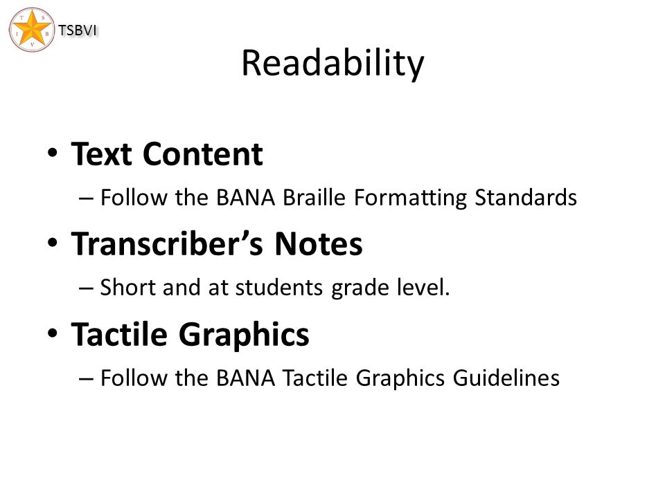 Readability Text Content Transcriber's Notes Tactile Graphics