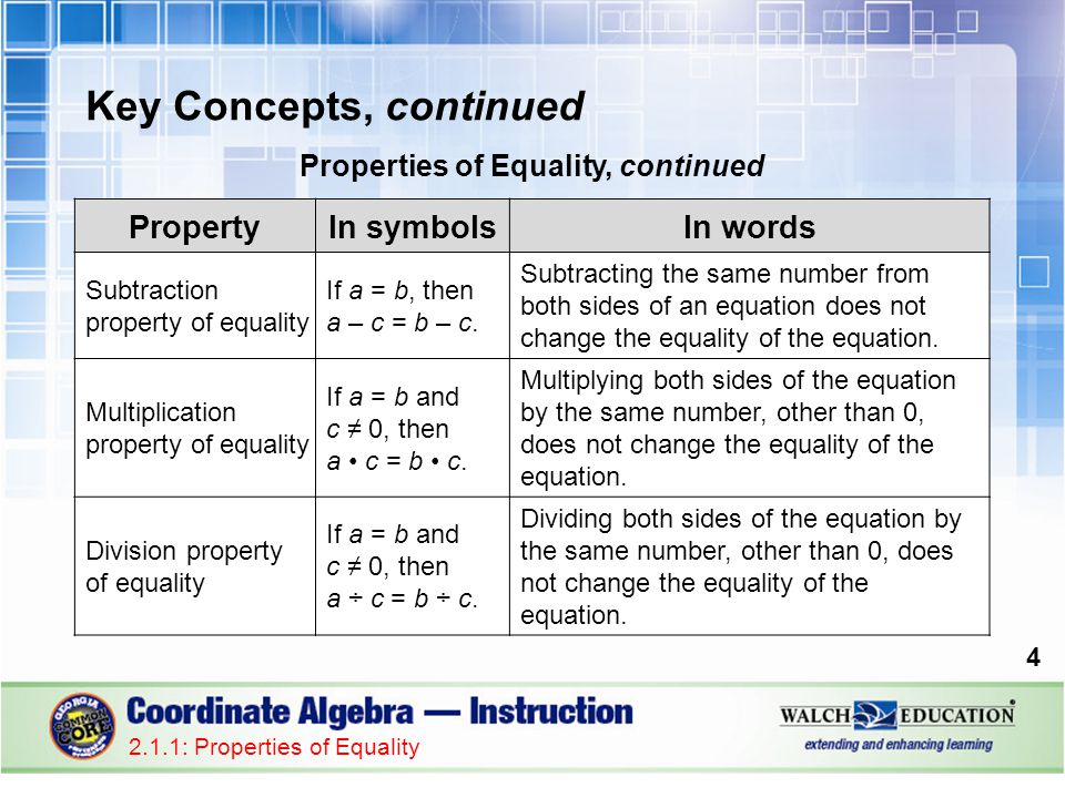 Properties of Equality, continued