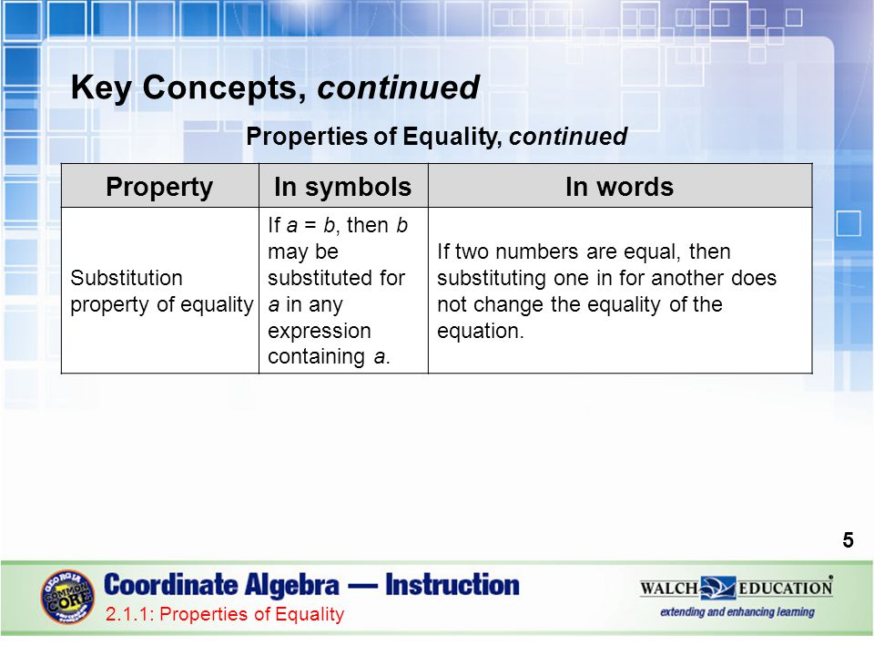 Key Concepts, continued Properties of Equality, continued