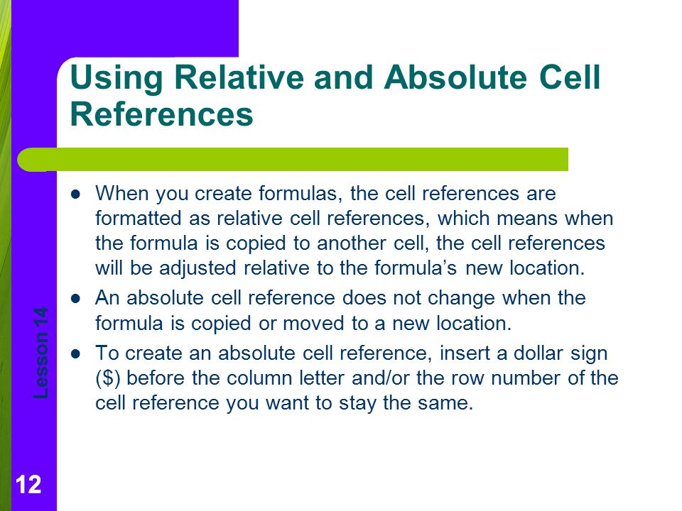 Using Relative and Absolute Cell References