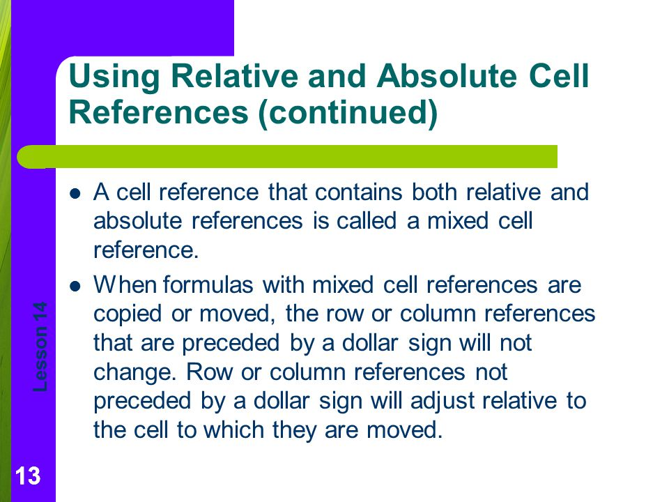 Using Relative and Absolute Cell References (continued)