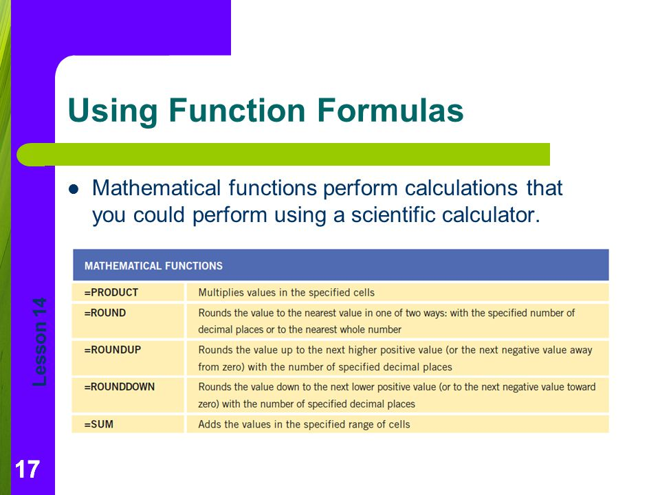 Using Function Formulas