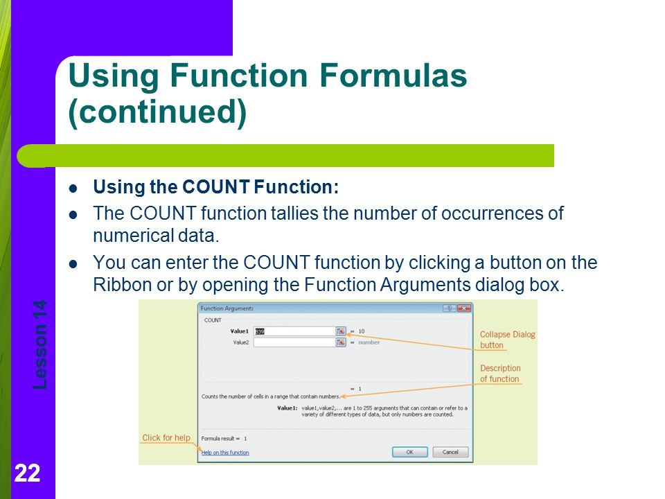 Using Function Formulas (continued)