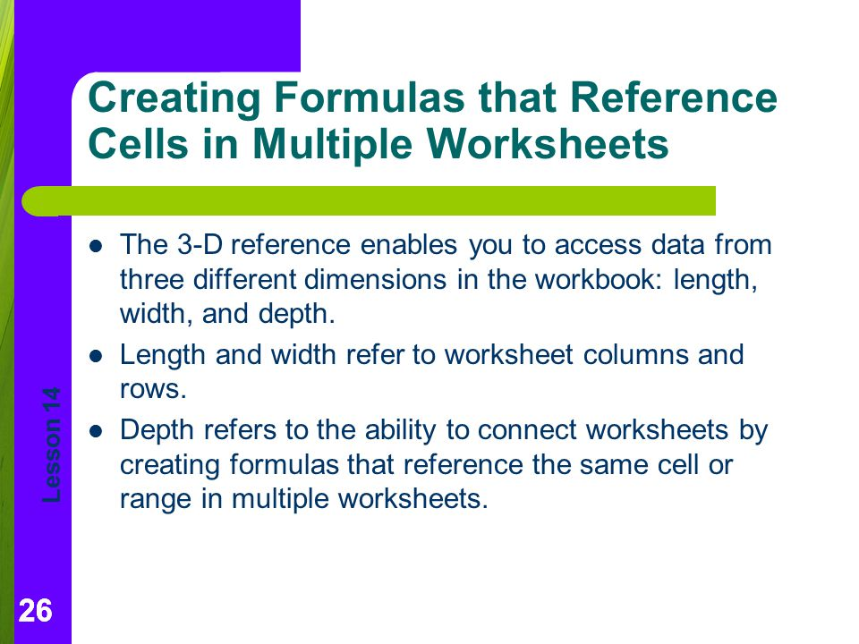 Creating Formulas that Reference Cells in Multiple Worksheets