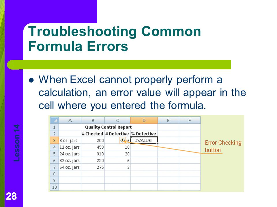 Troubleshooting Common Formula Errors
