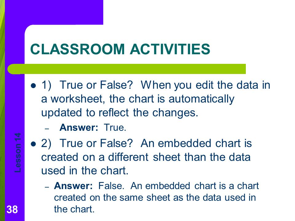 CLASSROOM ACTIVITIES 1) True or False When you edit the data in a worksheet, the chart is automatically updated to reflect the changes.
