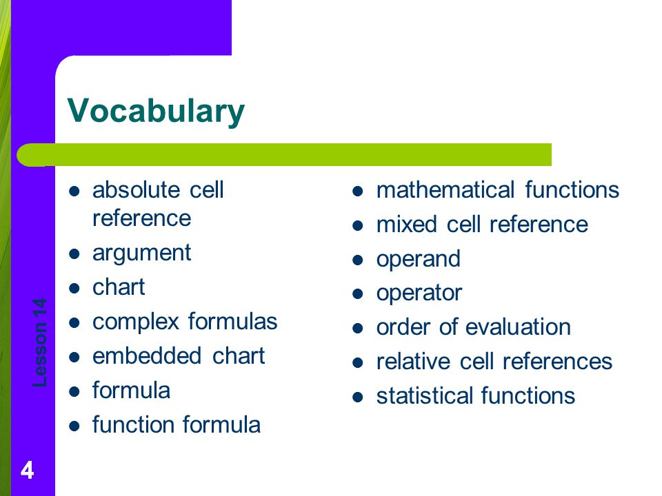 Vocabulary absolute cell reference argument chart complex formulas